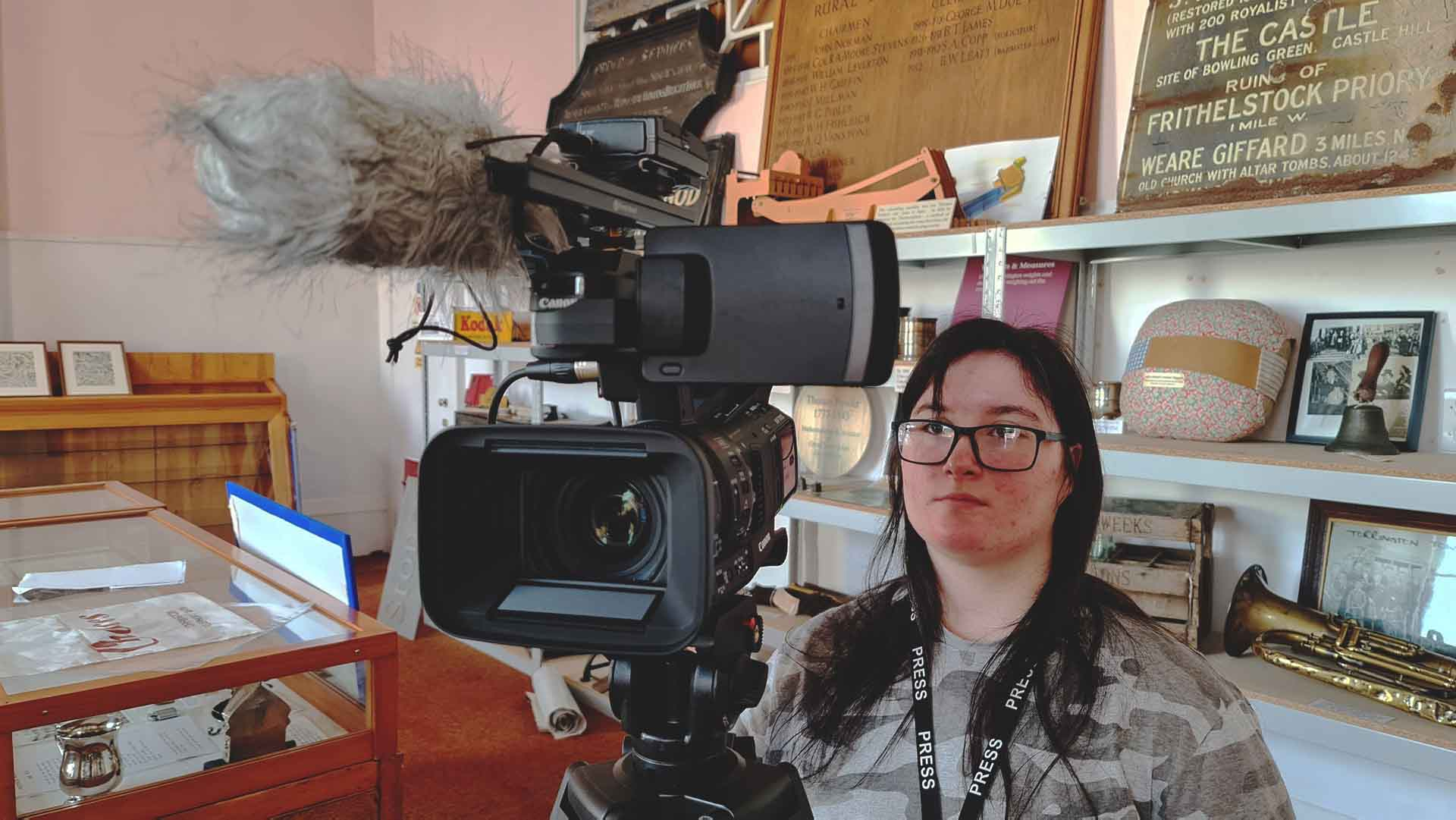 Katie Collins filming at the Torrington Museum - (C) Rebel Boy Media UK Limited 2020. All Rights Reserved