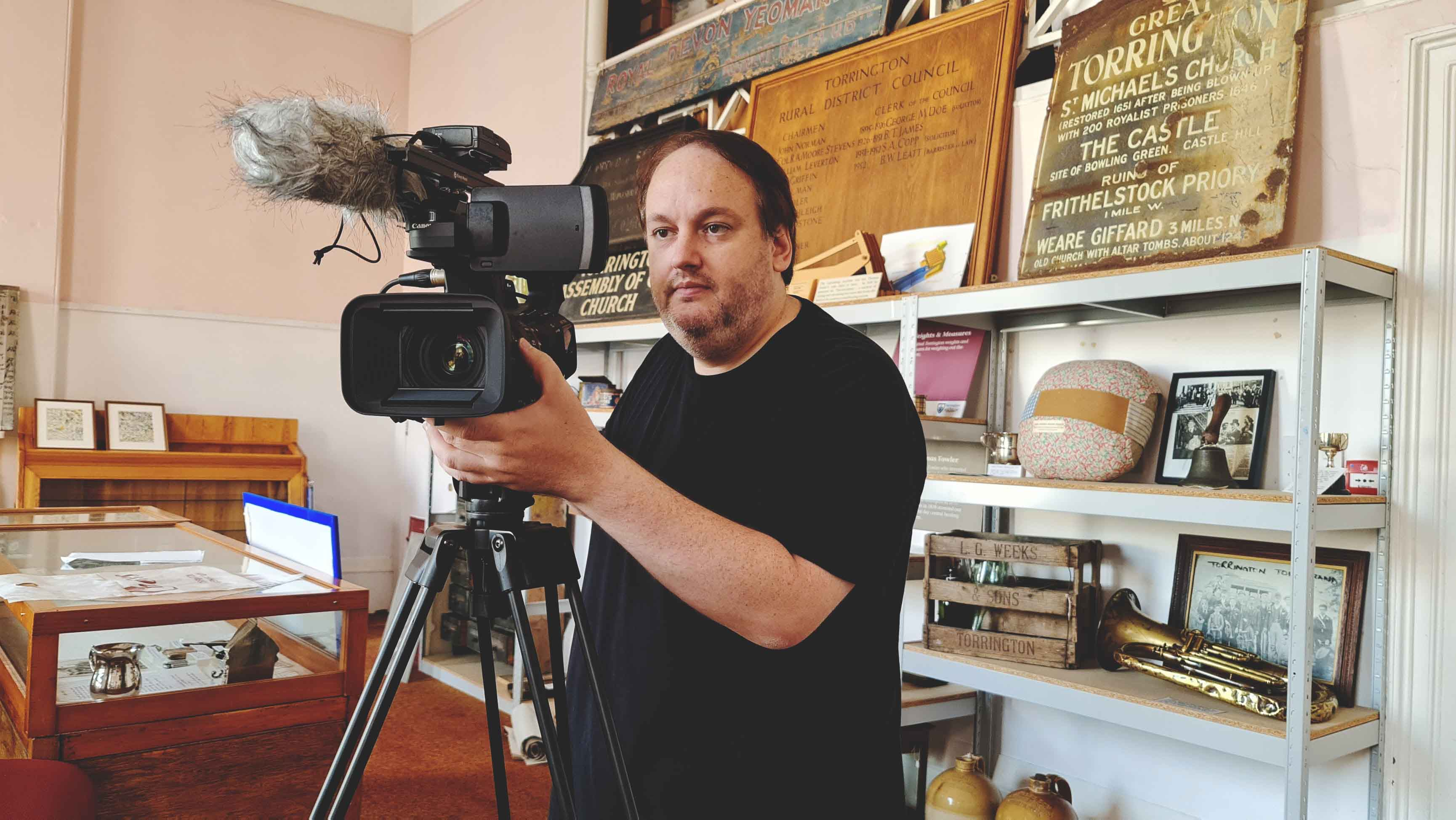 Michael Collins filming at the Torrington Museum - (C) Rebel Boy Media UK Limited 2020. All Rights Reserved
